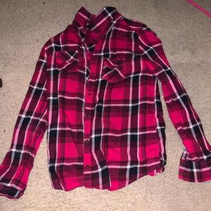 Red, white, gray, and black plaid shirt